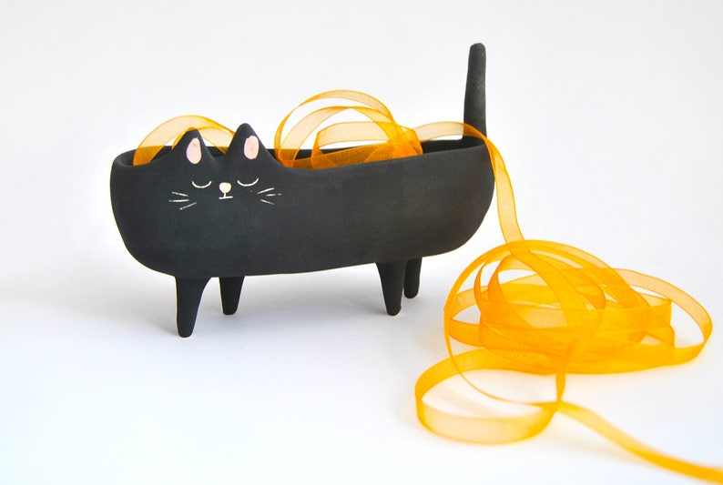 Halloween Special Ceramic black cat planter or Black Halloween image 0
