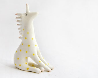Handmade Magical Ceramic Unicorn Figure Decorated with Yellow Polka Dots and Pink and Black Details. Ready To Ship