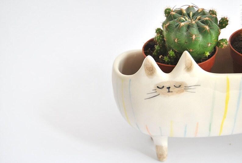 Ceramic Siamese Cat Planter. Siamese Cat Bowl Decorated with image 2