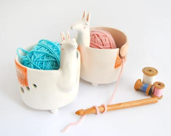 Ceramic Yarn Bowl or Knitting Bowl, Llama Shape, with orange Blanket. Ready to Ship