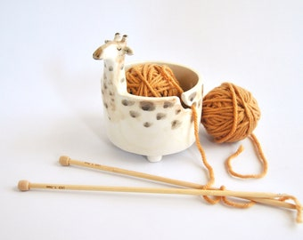 Ceramic Giraffe Yarn Bowl, Knitting Bowl or Crochet Bowl, Decorated in Ochre and Brown Shades. Ready to Ship