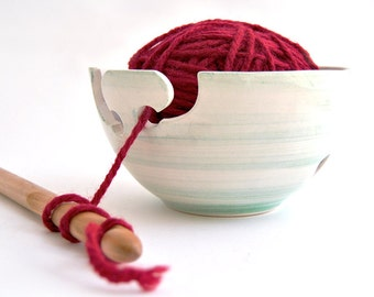 Ceramic Yarn Bowl, Knitting Bowl, Crochet Bowl Hand Painted in Green, with Double Hitch and Openwork Dots. Ready To Ship