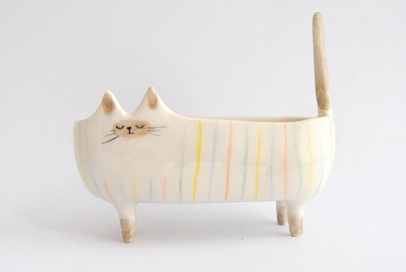 Ceramic Siamese Cat Planter. Siamese Cat Bowl Decorated with image 3
