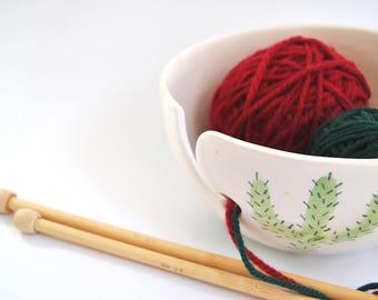 Ceramic Cactus Yarn Bowl/ Knitting Bowl/ Crochet Bowl, Decorated with Catus and Succulent Plants Paintings. Made To Order