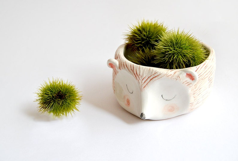 Hedgehog Bowl in White Clay Decorated with Pigments in Brown image 2