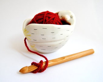 White Ceramic Baby Sloth Yarn Bowl, Knitting Bowl, Wool Bowl. Decorated with Pigments in Pink, Yellow and Black Colors. Ready To Ship