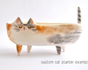 Ceramic Cat or Pet Planter Personalizated, Oval Shape and Four Legs. Ceramic Cat Flower Pot for Plants, Cactus or Suculents. Made to Order