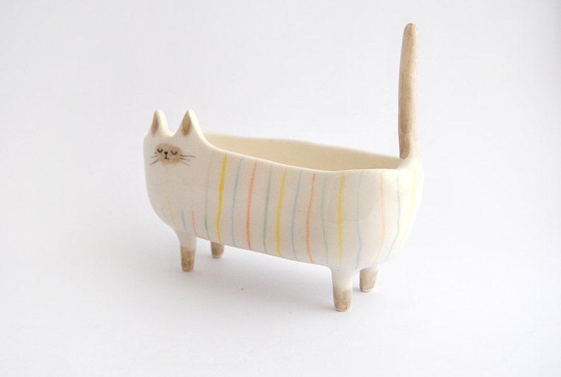 Ceramic Siamese Cat Planter. Siamese Cat Bowl Decorated with image 1
