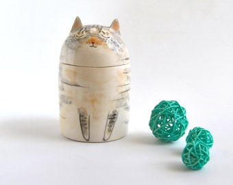 Personalized Cat Urn with Semi-spherical cover, with Name or without Name. Special Memory. Multipurpose Box. Made To Order