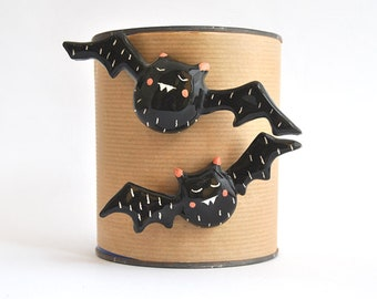 Special Halloween. Set of Two Ceramic Magnets, Cute Black Vampire Shaped. Ready to Ship