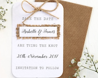 rustic burlap hessian save the date card with twine bow detailing