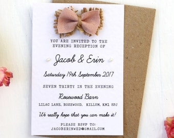 Rustic Fabric Bow and Burlap, Hessian and Pearl Small Evening Guest Invitaiton