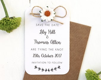 Rustic, Daisy and Twine Bow, Save the Date Card