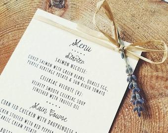 Rustic, Vintage, Lavender and Raffia Table Menu Card - Country Wedding, Rustic Wedding Stationery, Wedding Day
