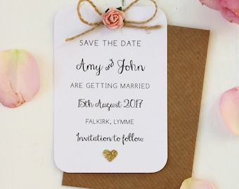 Cream Pale Coral Peach Pink Bow Wedding Personalised Invitations