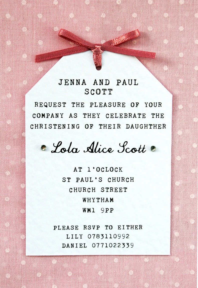 Baby Girl Christening, Naming Ceremony Invitation - Elegant, Simple, Tag  Style, Ribbon Bow