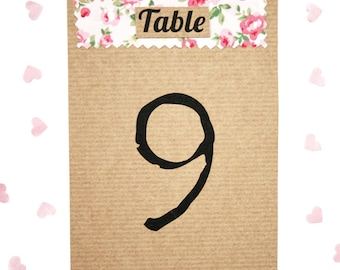 Rustic Shabby Chic, Ribbed Kraft Floral Fabric Wedding Table Number Card