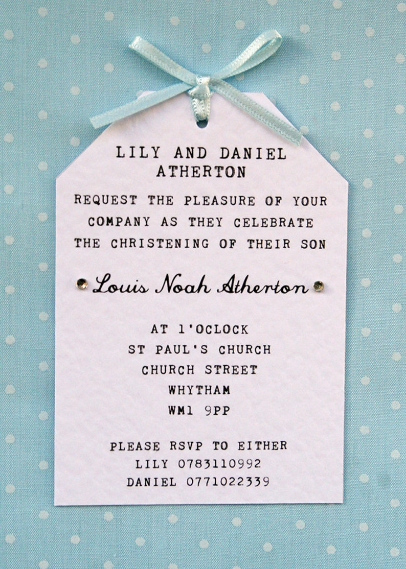 Boy Christening, Naming Ceremony Invitation - Elegant, Simple, Tag Style,  Ribbon Bow