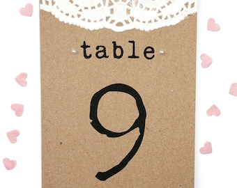 Rustic Doily and Pearl Wedding Table Number Card