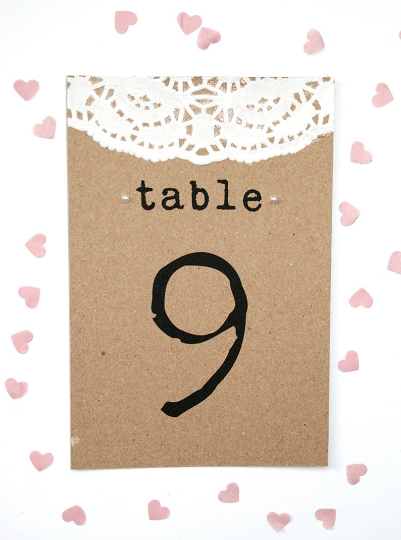 Rustic Doily and Pearl Wedding Table Number Card image 1