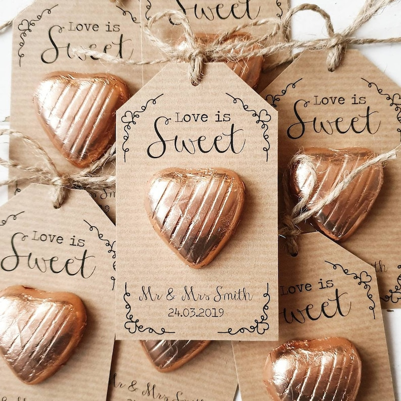 Affordable Edible Wedding Favors - Love is Sweet Heart Shaped Chocolate Wedding Favors with personalaized tag.