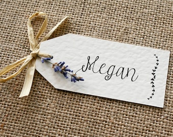 Rustic, Vintage, Lavender and Raffia Wedding Place Card Tag