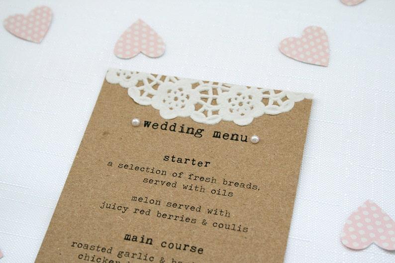 Rustic Doily and Pearl Wedding Menu  Eco Kraft Shabby Chic image 0