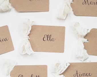 Ivory Lace Bow Kraft Place Card Tags, Elegant, Shabby Chic, Vintage Wedding