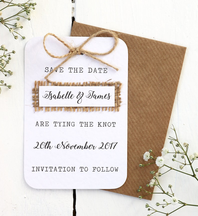 Rustic Burlap Hessian and Twine Bow Save the Date Card  image 0