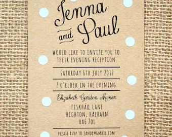 Pastel Blue Polka Dot Evening Wedding Invitation - Rustic Kraft