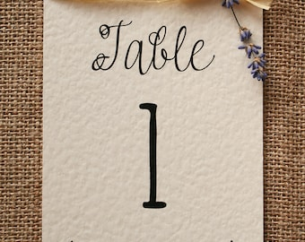 Rustic, Vintage, Lavender Table Number Card