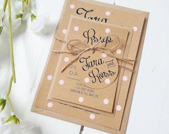 Pastel Pink Polka Dot Wedding Invite Set - Rustic Kraft