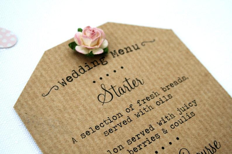 Rustic Paper Rose Wedding Menu  Ribbed Kraft Shabby Chic image 0
