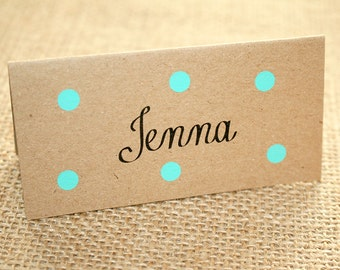 Pastel Polka Dot Folded Place Card