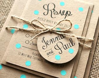 Pastel Turquoise, Mint, Polka Dot Wedding Invite Set - Rustic Kraft