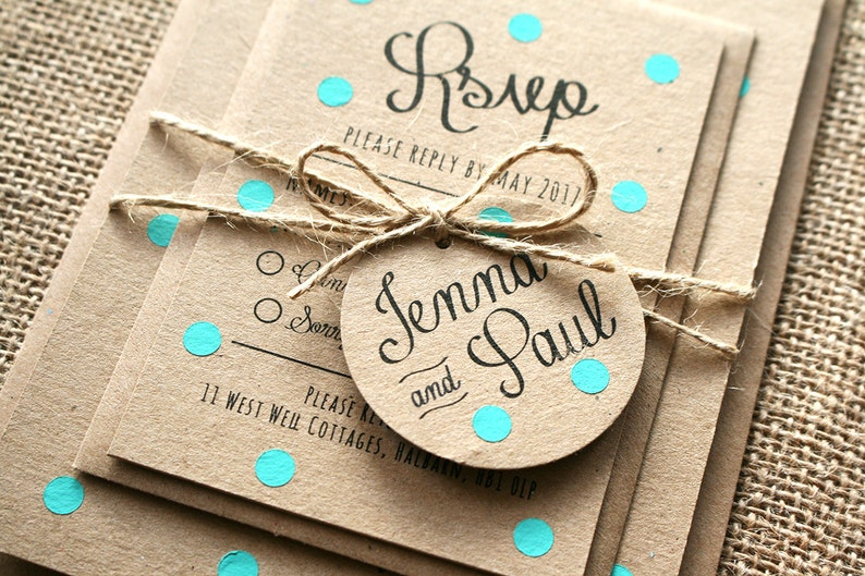 Pastel Turquoise Mint Polka Dot Wedding Invite Set  Rustic image 0