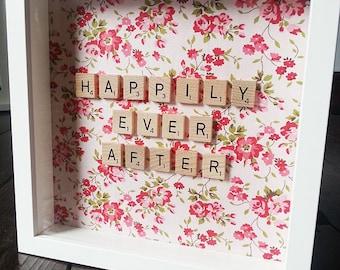 Scrabble Fabric Frame, Wedding Gift, Birthday Gift, House Decoration