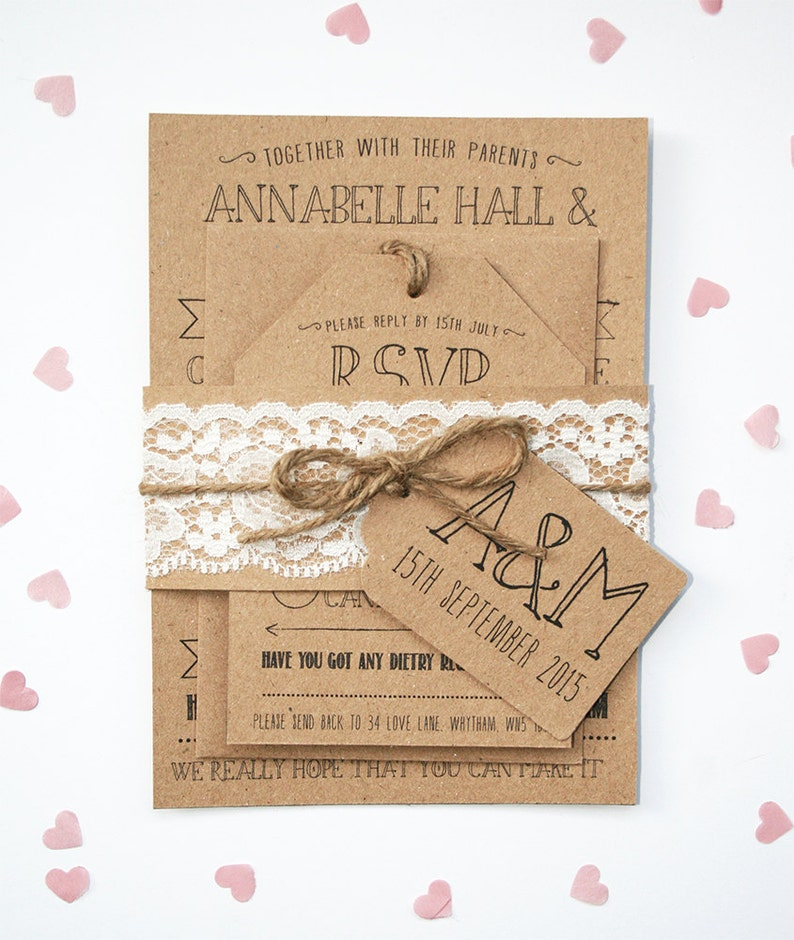 Rustic Kraft Lace Invitation Set  with Tag and Twine image 0