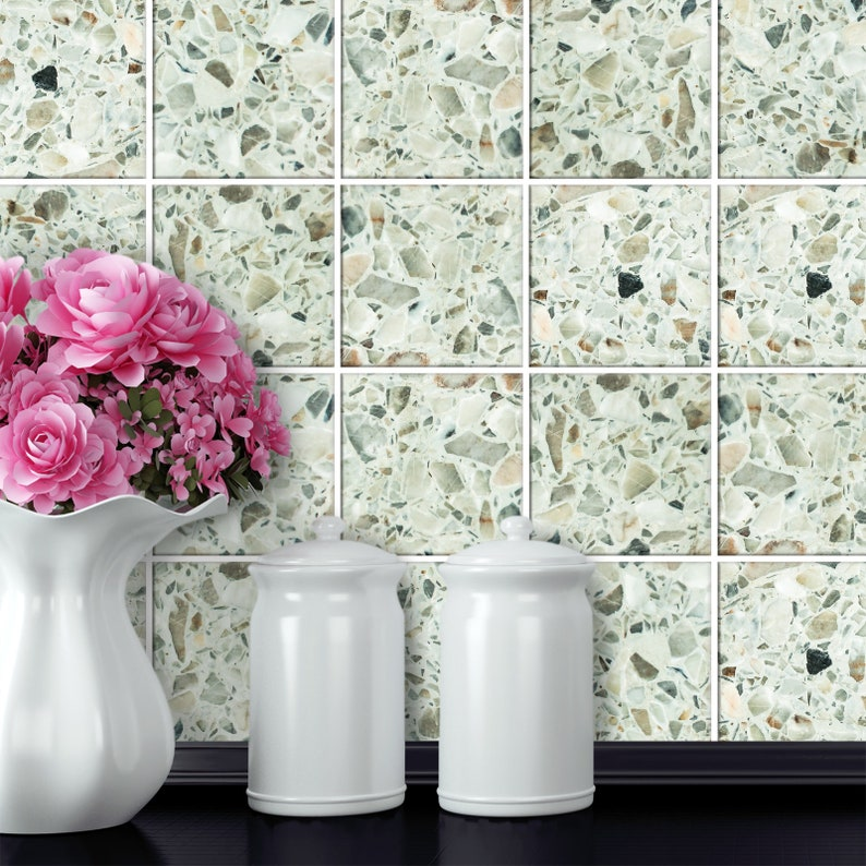 Tile Stickers Terrazzo - Italian Real Granite Quartz And Marble Effect -  Various Sizes - Style 4 - T18