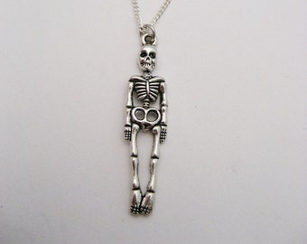 Skeleton Necklace, Skeleton Jewelry, Human Skeleton Necklace, Halloween Jewelry, Halloween Necklace, Anatomy Necklace, Anatomy Jewelry