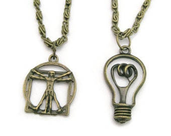Science  Necklace Set Best Friends Necklace Geekery  Jewelry  Science Jewelry Light Bulb Necklace Vitruvian Man Necklace Science Gift Set