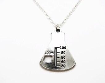 Chemistry Necklace Science Necklace Beaker Necklace Flask Necklace Chemistry Jewelry Science Jewelry Science Gifts Chemistry Gift