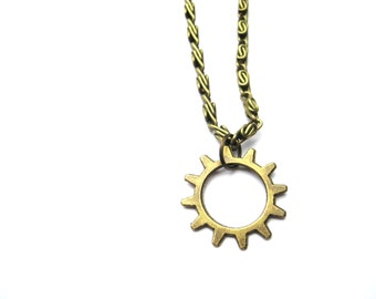 Gear Necklace, Cog Necklace, Gear Jewelry, Cog Jewelry, Simple Gear Necklace, Steampunk Necklace