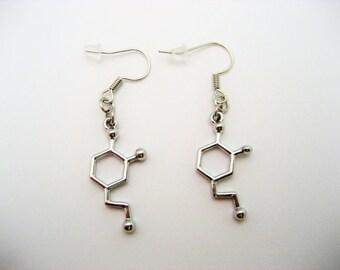 Dopamine Earrings, Molecule Earrings, Science Earrings, STEM Earrings, Chemistry Earrings, Dopamine Jewelry, Science Jewelry