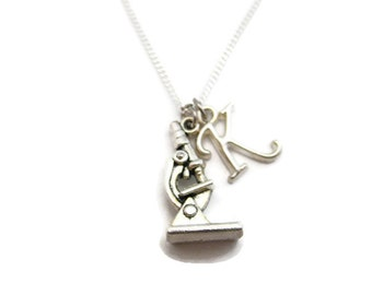 Science Necklace Microscope Necklace Initial STEM Necklace Biology Necklace Personalized Chemistry  Microscope Jewelry Science Jewelry