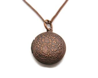 Small  Locket  Necklace Floral Locket Necklace Photo Locket Necklace Round Locket  Small Locket Necklace Photo Locket Jewelry