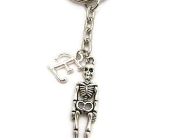 Skeleton Keychain Customized Human Skeleton Keychain Anatomy Keychain Halloween Keychain Halloween Lovers Initial Skeleton Keychain