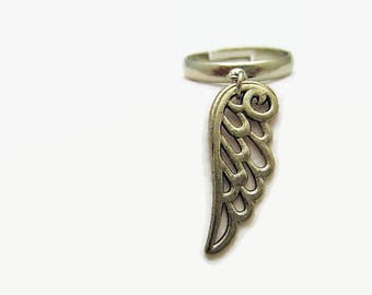 Angel Wing Ring Charm Ring Adjustable Brass Ring