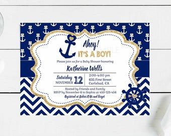 Nautical baby shower invitation etsy nautical baby shower invitation gold and navy blue nautical printable invitation baby boy shower filmwisefo