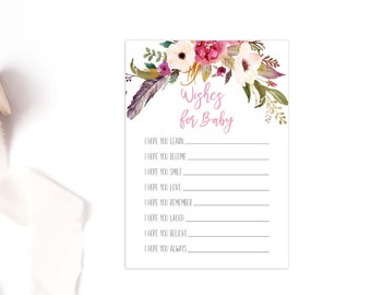 Wishes for Baby Card, Dear Baby Shower Game, I Hope You, Boho Floral, Matching, Well Wishes, Printable Download.